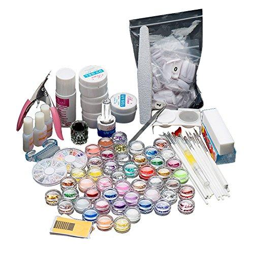 FEITONG 27 Acryl Nagelkunst Spitzen Puder Liquid Brush Glitzer Nagellack Datei Set (Schwarzen Lippenstift Und Nagellack Kit)