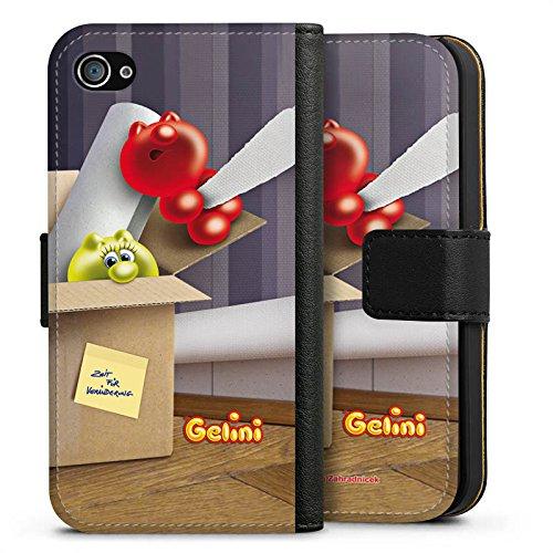 Apple iPhone X Silikon Hülle Case Schutzhülle Gelini Gummibärchen Karton Sideflip Tasche schwarz