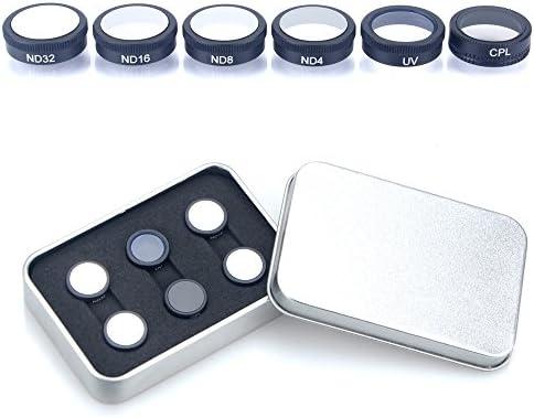 Kingwon 6 pièces filtres de lentille pour DJI Mavic filtre filtre filtre à air, cadre en alliage d'aluminium et en verre optique, Drone Camera Accessoires ND4, ND8, ND16, ND32 CPL, filtre UV avec une boîte de rangeHommes t | Dernière Arrivée  d68f14