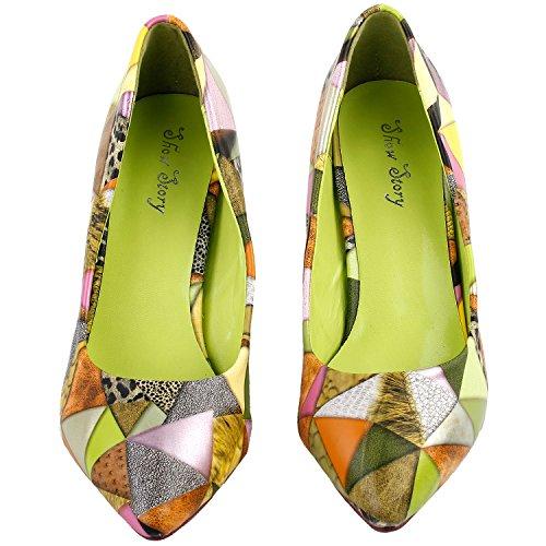Visualizza storia Multicolore triangoli stampa Pointed Toe squisita perla tacco vestito pompa donne, LF60407 Verde