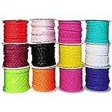 Handi Stitch Geflochten Kordel (12 Packung) - 4mm (3M) Gemischten Farbigen PU Leder Schnur für DIY Halskette, Armband, Handwerk, Geschenk und Flaschen Verpackungen, Dekorationen