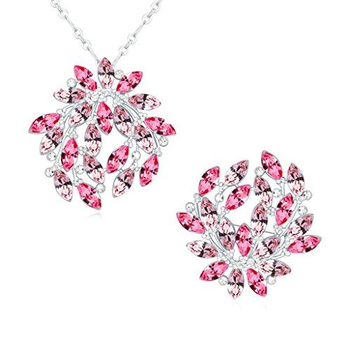 Aooaz Femmes Alliage Bijoux Parures Feuille Branche Cristal Broche Pendentif Collier Anniversaire Cadeau Promesse Engagement Rose Rouge