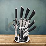 Kurtzy Knife Set for Kitchen with Stand, 9 Pieces