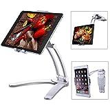 meacom 2 in 1 Handyhalter Küche Handy Halterung Tisch Tablet Ständer Alulegierung und ABS Wand Halter für Handy, Tablet und mehr 7.9 to 9.7 Zoll Gerät(Silber)