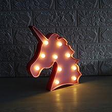 JYSPORT Lámpara decorativa de luces LED, luz nocturna, diseño de unicornio, rosa, 130 x 110 cm