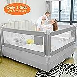 ZEHNHASE Barrière de Lit Enfants Bébés Protection Bord de Lit pour Sécurité des Enfants Bébés Portable Bedrail Safetyguard (Gris,ramure, 200CM)