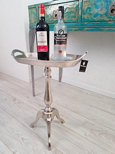 Hazenkamp Alu Massiv Beistelltisch Tisch Flaschentablett Silber Tablett - Modern Geformte Beistelltisch