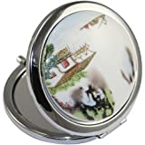 Kolight Chinese Landscape Flower Bird Double Sides (One Is Normal,Another Is Magnifying)Portable Foldable Pocket Metal Makeup Compact Mirror Woman Cosmetic Mirror (Chinese Landscape)