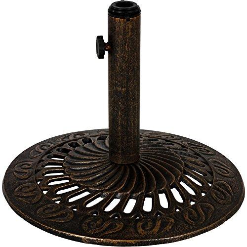 Maxstore Sonnenschirmständer aus Gusseisen rund Farbe Bronze, 12 kg, Schirmständer