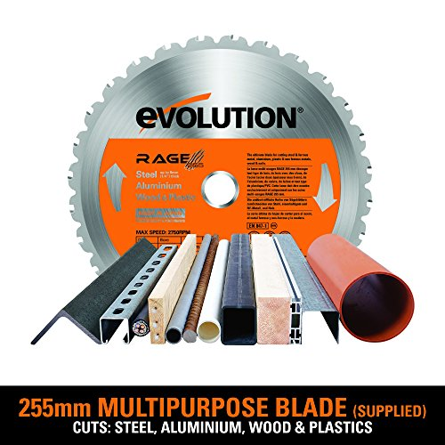 Evolution RAGE3+ Multipurpose Sliding Mitre Saw With Accessory Pack (230 V, 255 mm)