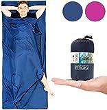MIQIO® 2in1 Hüttenschlafsack mit durchgängigem Reißverschluss : Leichter Komfort Reiseschlafsack und XL Reisedecke in Einem - Sommer Schlafsack Innenschlafsack Inlett