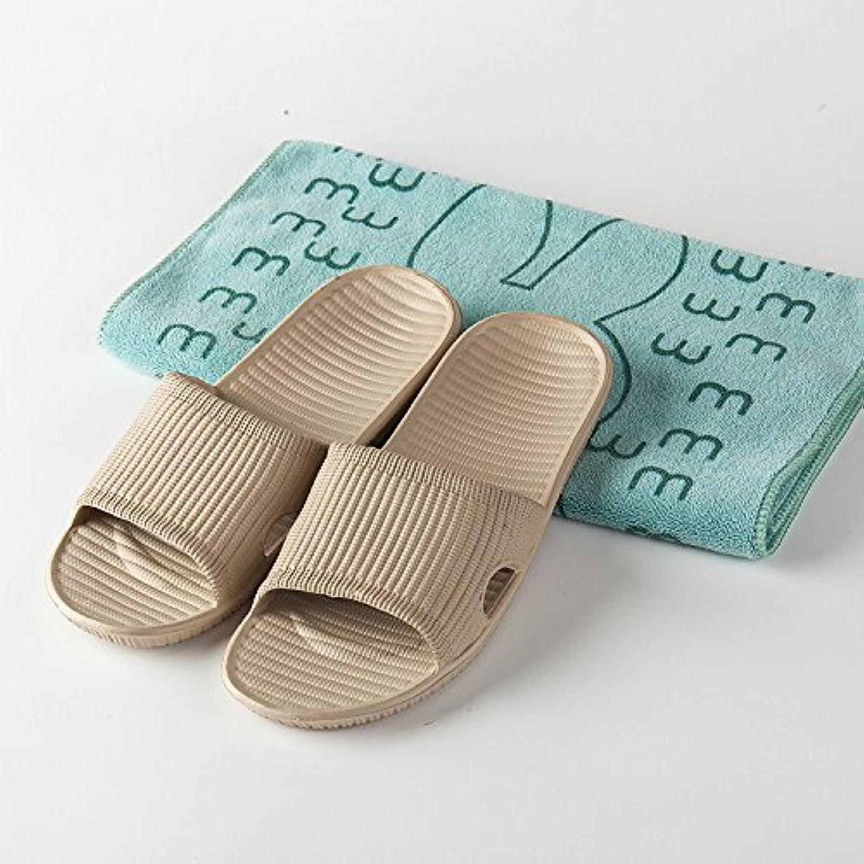 Pareja casa zapatillas verano EVA baño antideslizante suave fondo cómodo zapatillas de rayas, color caqui, 39  -