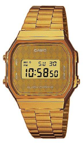 CASIO Collection A168WG-9BWEF – Reloj de caballero de cuarzo, correa de acero inoxidable color oro (con alarma, cronómetro, luz)