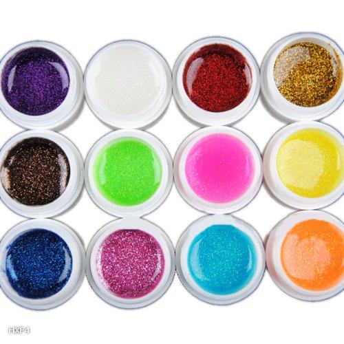 EOZY 12Couleurs GEL UV Clignotant Acrylique Nail Art Colle Manucure Magique