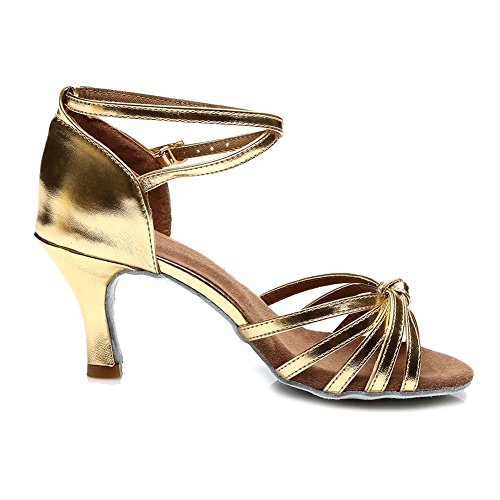 HIPPOSEUS Ballsaal Tanzschuhe/Standard Satin Latein Dance Schuhe/Damen Tanzschuhe,DE217 7CM Gold