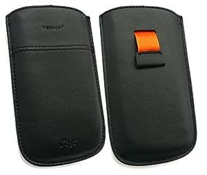 Tech 21 Véritable Cuir Nappa Noir Slip Case / Sleeve / Pouch Adapté Pour Alcatel OT-990