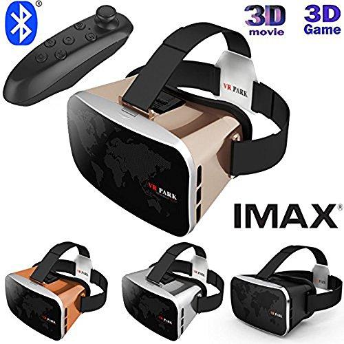UrChoiceLtd®2017 Virtuell Wirklichkeit VR PARK V3 VR BOX III 3D Telefon TV Video Brillen + Bluetooth Gamepad Für 4 - 6 Zoll Smartphones IPhone Galaxis (Gold)