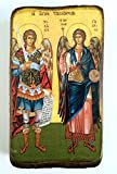 Greek wooden icon, Christian Orthodox, of the archangels Michael and Gabriel.