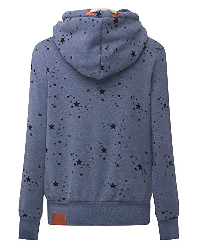 StyleDome Winter Damen Hoodies Pullover Langarm Jacke Top Sweatshirt Pullover Tops Jumper Blau471130 XL - 4