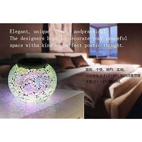 Haodasi de energía solar de mosaico de vidrio de la bola del jardín de las luces, que cambia de color solar Lámparas de mesa, solar impermeable al aire libre del césped por regalos del festival en interiores o exteriores Decoraciones A114