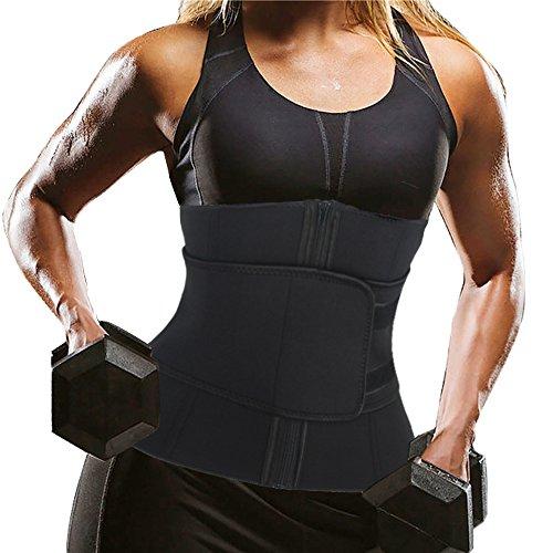 DODOING Damen Neopren Sauna Waist Trainer Reißverschluss Sport Korsage Korsett Bauchweg Training Unterbrustkorsett Tailenmieder Body Shaper Verstellbare Corset für Gewicht Loss (Slim-gewicht-verlust B)