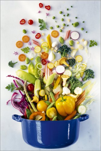 Posterlounge Acrylglasbild 40 x 60 cm: Gemüse fällt in einen Topf von Science Photo Library - Wandbild, Acryl Glasbild, Druck auf Acryl Glas Bild