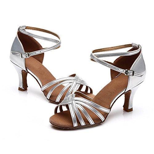 SWDZM Damen Ausgestelltes Tanzschuhe/Standard Latin Dance Schuhe Satin Ballsaal ModellD213-7 Silber EU38.5 - 5