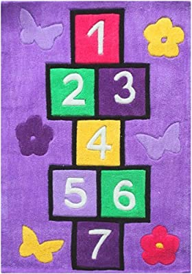 "Children's Shaped Rug - Multi-coloured Hopscotch Rug - 70cms x 100cms (2'3"" x 3'3"" Approx) - *UK MAINLAND DELIVERY ONLY NOT EIRE"
