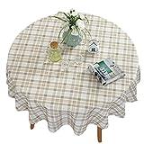 Ommda Tischdecke Wasserabweisend Leinen Abwaschbar Blumendruck Tischdecke Rund für Runde Tabelle 160cm Durchmesser Beige