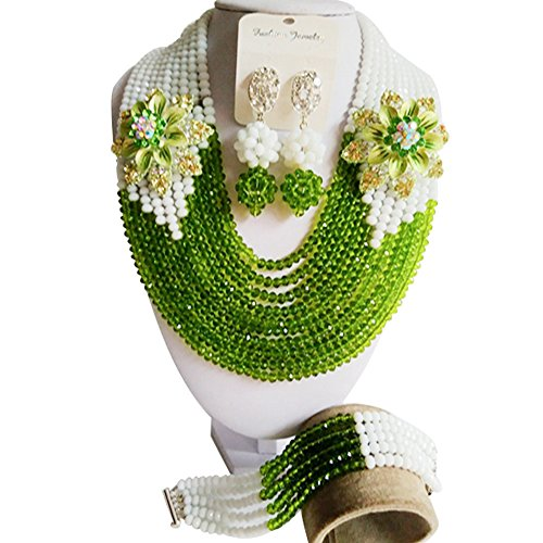 laanc-10-rows-grass-green-and-white-nigerian-wedding-african-beads-crystal-crystal-beads-jewelry-set