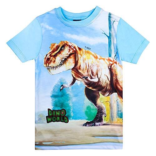 Dino World, Dinosaurio Niños Camiseta, Azul Oscuro, Talla 98, 3 años