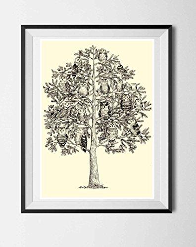 Eulen, Eulenbild, Baum mit Eulen, Poster ohne Rahmen, schwarz-weiß, Geschenk für Eulenliebhaber