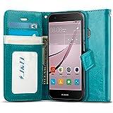 Huawei Nova Hülle, J&D [Handytasche mit Standfuß] [Slim Fit] Robust Stoßfest Aufklappbar Tasche Hülle für Huawei Nova - Türkis
