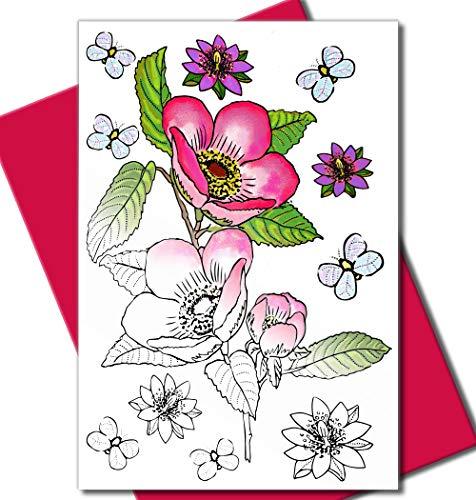 Art Eclect Grußkarten zum Ausmalen, für Geburtstage, Jahrestage und Jeden Anlass   10 Einzigartige Designs zum Ausmalen und Versenden   inkl. Briefumschlägen   Blumen Set B/Rosa (Die Danke Sympathie-karten Für)