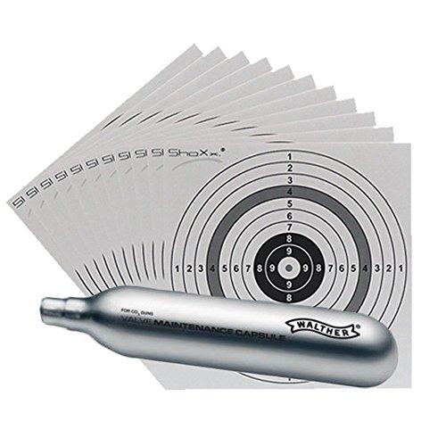 Set: 1 x Walther CO2 Wartungskapsel / Kapsel 12g für CO2 Waffen (4.1683) + 10 original ShoXx.® Zielscheiben 14x14 cm mit 250 g/m² und spezieller Struktur