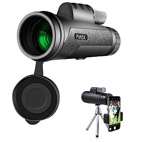 12X50 Monokular Teleskop, PiAEK HD Monokular Wasserdicht & Stoßfest mit mobilem Adapter &Stativ für Vogelbeobachtung,Jagd,Camping,Wandern