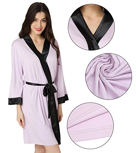 Aibrou Robe Kimono Knit Cotton Light Short Bridesmaids Spa Bathrobe Viola chiaro