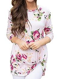 9e92371c592 Bestow Blusas del Nudo de la impresión Floral Retro de Las Mujeres  Ocasionales Camisas Dobladillo Impresa