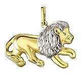 CLEVER SCHMUCK Goldener Anhänger großer Löwe 13 x 23 mm beidseitig plastische Form bicolor glänzend 333 GOLD 8 KARAT 333 mit Etui