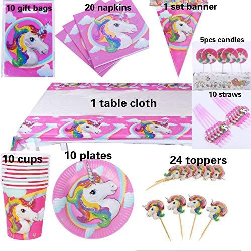 Freies verschiffen 91 stücke luxus glücklich geburtstag kinder Unicorn baby mädchen party dusche dekoration geschirr sets lieferanten großhandel