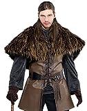 shoperama Braunes Krieger Cape aus Kunstfell Wikinger Pelz-Kragen Warrior Herren Kostüm Got HDR LARP Fell