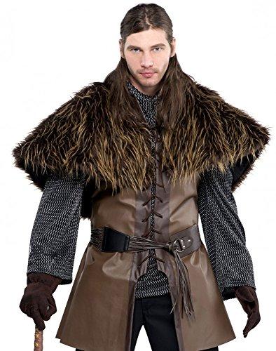 shoperama Braunes Krieger Cape aus Kunstfell Wikinger Pelz-Kragen Warrior Herren Kostüm Got HDR LARP Fell (Fell Weste Kostüm)