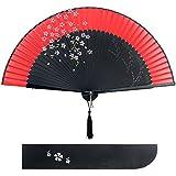 Blütenkirsche Muster Spitze Bambus Faltbar Handfächer für den Sommer Anlässen, Gartenfeste, Hochzeiten im Freien, Tuch Dekoration (Rot)