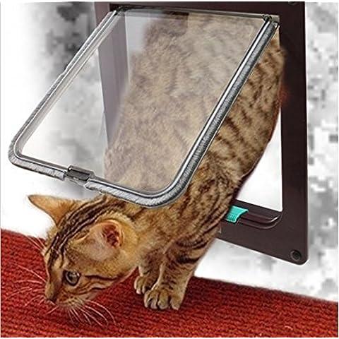 Denshine® Gattaiola Porta Bloccabile Basculante con Blocco a 4 Vie per Gatti e Cani, Entrata e Uscita Controllabile - Cat Flap Per Porte