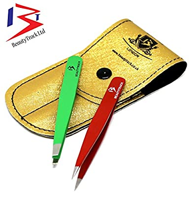 BeautyTrack Professional Eyebrow Tweezers kit, Slanted, straight, Hair removal tweezers Slant Tip, stasinless steel Red & Green comes in Leather Pouch