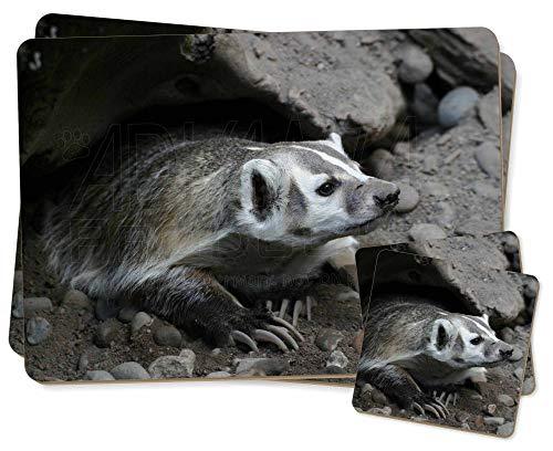Badger auf Uhr Zwillings Platzdeckchen und Untersetzer Set -