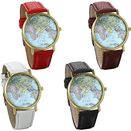 JewelryWe 4pcs Damen Armbanduhr Retro Weltkarte Globus Karte World Map Leder Band Analog Quarz Uhr Bloggeruhr Geschenk Schwarz Braun Weiss Rot