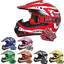 Leopard LEO-X17 Casques Motocross & Gants d'enfants & Lunettes pour Enfants - Rouge S (49-50cm) - Casque de Moto de Bicyclette ATV ECE 22-05 Approbation