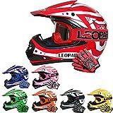 Leopard LEO-X17 Casco da Motocross per Bambini e Occhiali e Guanti da Motocross per Bambini - Rosso...