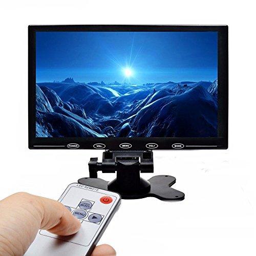 Camecho Monitore 9-Zoll-PC-Bildschirm HD 1024x768 TFT-Farbbildschirm, 2 Video-Eingang / HDMI / VGA, Unterstützung Auto-Backup, Mini-PC-Display, CCTV, Home Security, mit Fernbedienung
